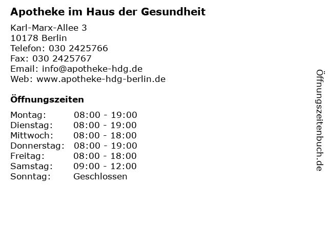 Apotheke im Haus der Gesundheit in Berlin: Adresse und Öffnungszeiten