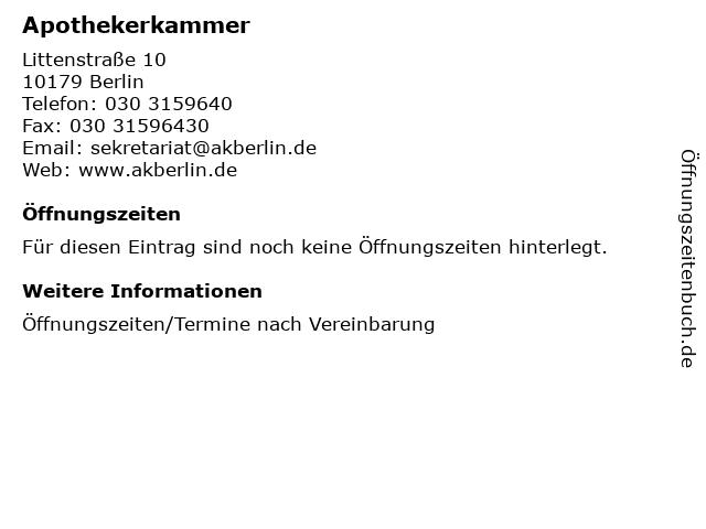 Apothekerkammer Berlin in Berlin: Adresse und Öffnungszeiten