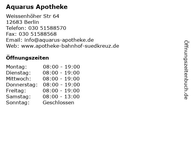 Aquarus Apotheke in Berlin: Adresse und Öffnungszeiten