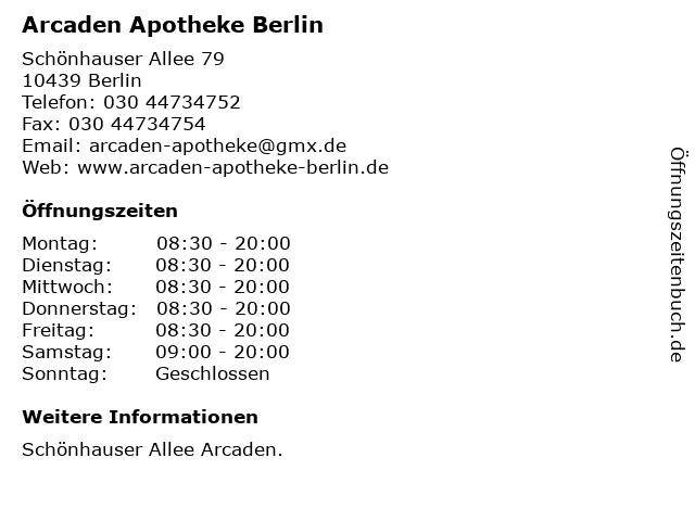 Arcaden Apotheke Berlin in Berlin: Adresse und Öffnungszeiten