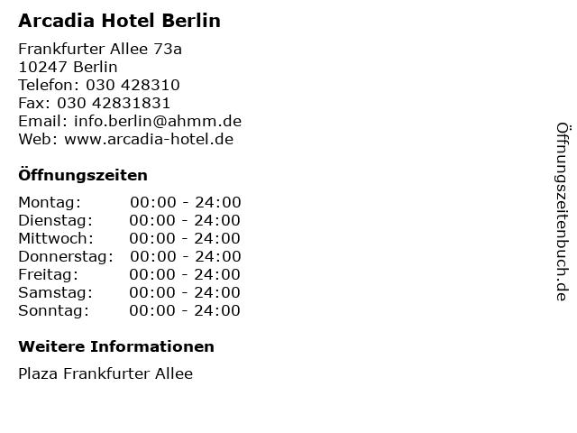 Arcadia Hotel Berlin in Berlin: Adresse und Öffnungszeiten