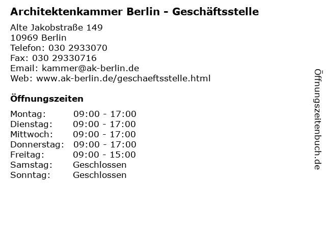 ᐅ öffnungszeiten Architektenkammer Berlin Alte Jakobstraße 149