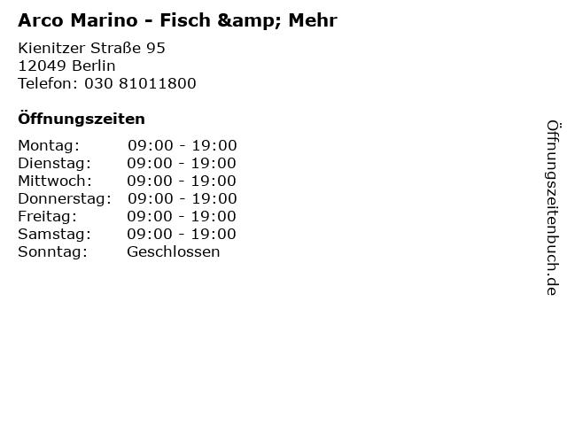Arco Marino - Fisch & Mehr in Berlin: Adresse und Öffnungszeiten