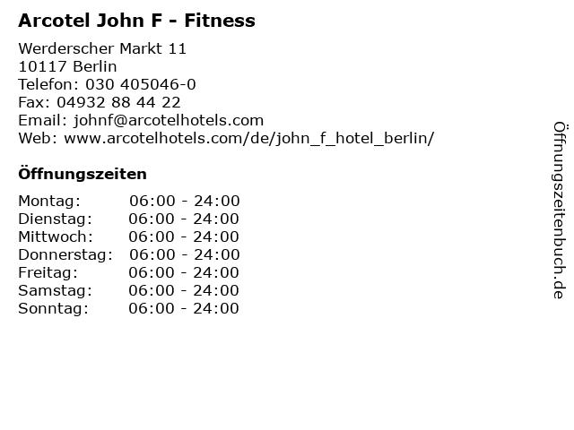 Arcotel John F - Fitness in Berlin: Adresse und Öffnungszeiten