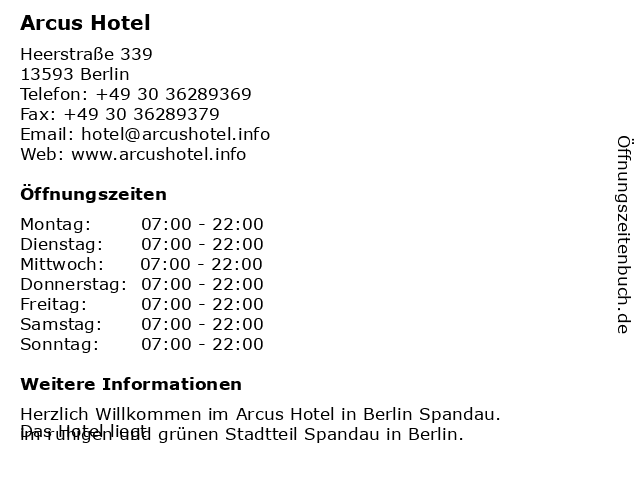 ᐅ Offnungszeiten Arcus Hotel Heerstrasse 339 In Berlin