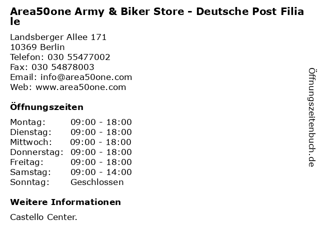 Area50one Army & Biker Store - Deutsche Post Filiale in Berlin: Adresse und Öffnungszeiten