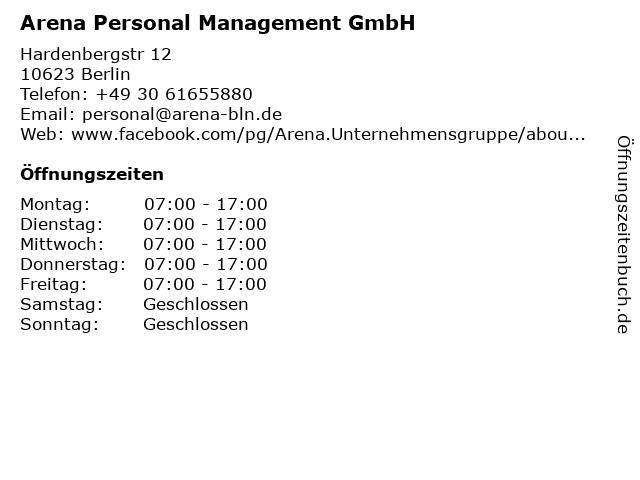 e73e7640be2e71 Arena Personal Management GmbH in Berlin  Adresse und Öffnungszeiten