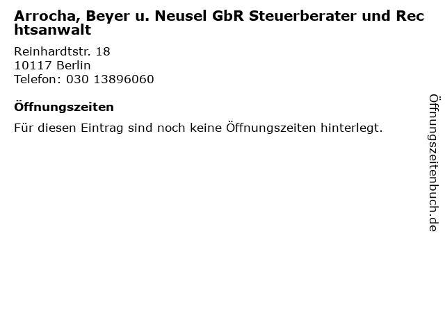 Arrocha, Beyer u. Neusel GbR Steuerberater und Rechtsanwalt in Berlin: Adresse und Öffnungszeiten