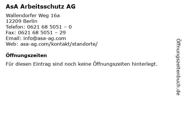 AsA Arbeitsschutz AG in Berlin: Adresse und Öffnungszeiten