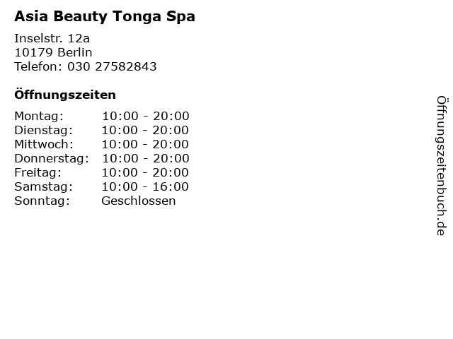 Asia Beauty Tonga Spa in Berlin: Adresse und Öffnungszeiten