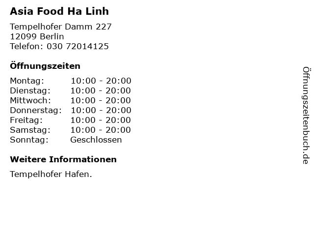 Asia Food Ha Linh in Berlin: Adresse und Öffnungszeiten