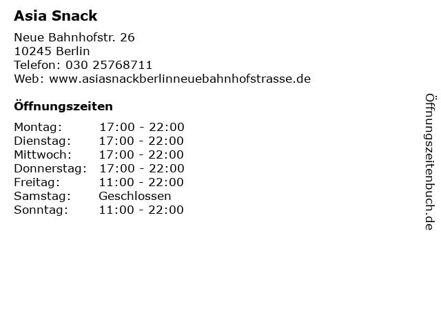Asia Snack in Berlin: Adresse und Öffnungszeiten