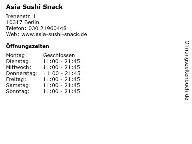 Asia Sushi Snack in Berlin: Adresse und Öffnungszeiten