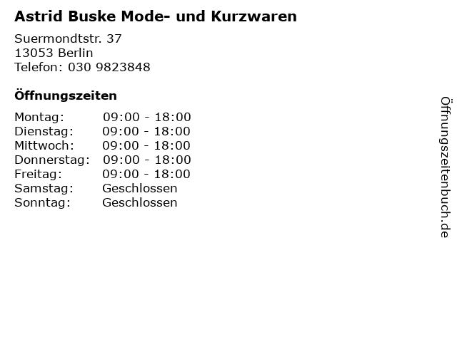 Astrid Buske Mode- und Kurzwaren in Berlin: Adresse und Öffnungszeiten