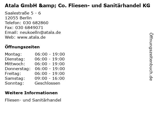 """ᐅ Öffnungszeiten """"Atala GmbH & Co. Fliesen- und Sanitärhandel KG ..."""