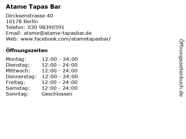 Atame Tapas Bar in Berlin: Adresse und Öffnungszeiten