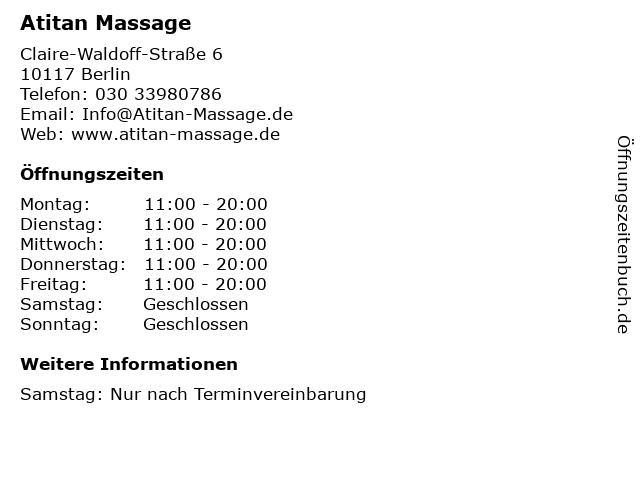 Atitan Massage in Berlin: Adresse und Öffnungszeiten