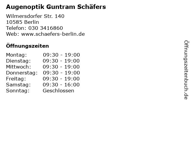 Augenoptik Guntram Schäfers in Berlin: Adresse und Öffnungszeiten