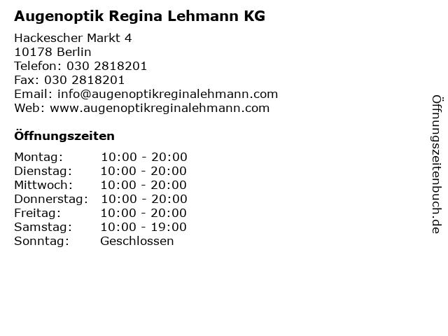 Augenoptik Regina Lehmann KG in Berlin: Adresse und Öffnungszeiten
