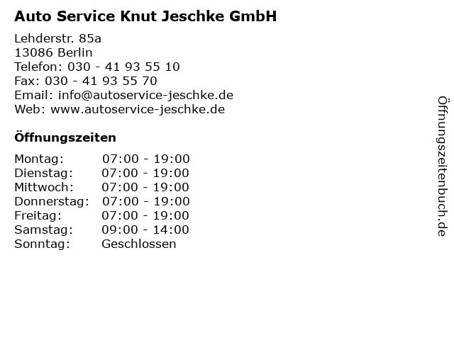 Auto Service Knut Jeschke GmbH in Berlin: Adresse und Öffnungszeiten