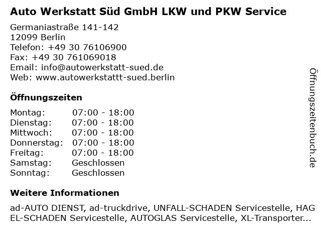Auto Werkstatt Süd GmbH LKW und PKW Service in Berlin: Adresse und Öffnungszeiten