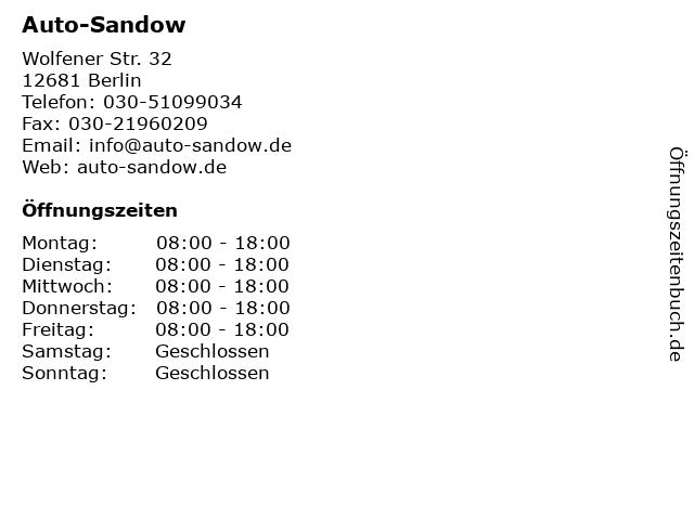 Auto-Sandow in Berlin: Adresse und Öffnungszeiten