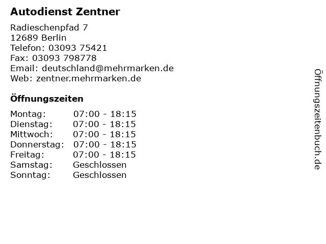 Autodienst Zentner in Berlin: Adresse und Öffnungszeiten