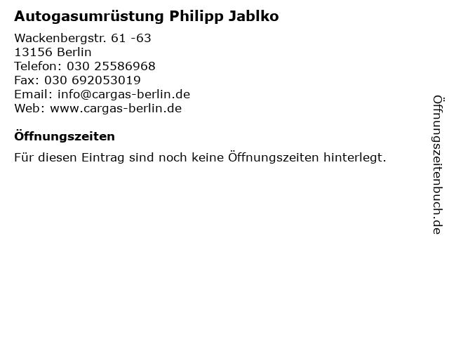 Autogasumrüstung Philipp Jablko in Berlin: Adresse und Öffnungszeiten