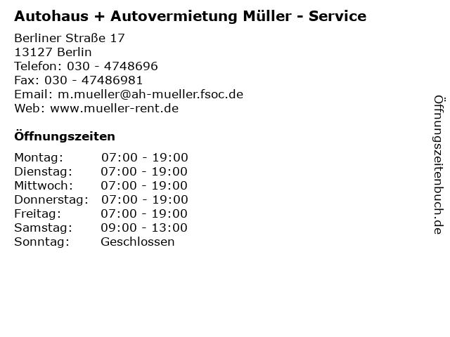 Autohaus + Autovermietung Müller - Service in Berlin: Adresse und Öffnungszeiten