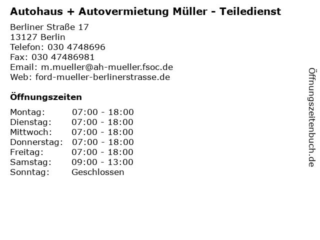 Autohaus + Autovermietung Müller - Teiledienst in Berlin: Adresse und Öffnungszeiten