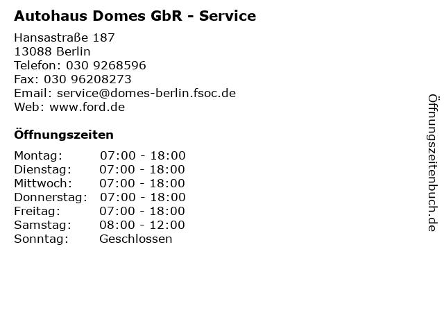 Autohaus Domes GbR - Service in Berlin: Adresse und Öffnungszeiten
