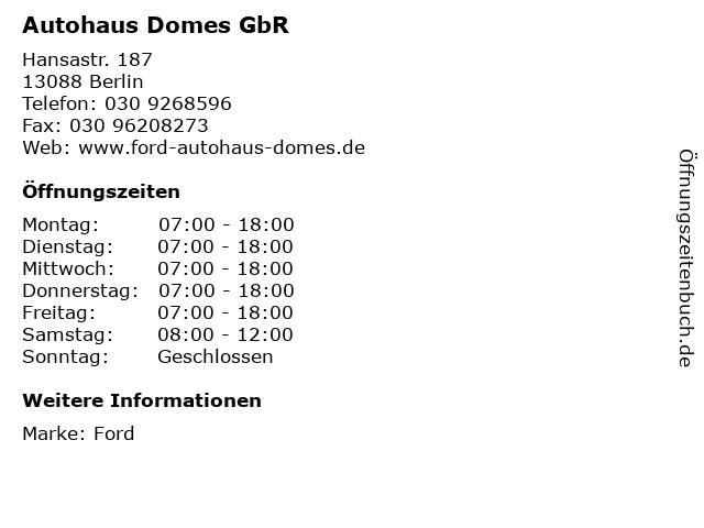 Autohaus Domes GbR in Berlin: Adresse und Öffnungszeiten