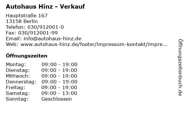 Autohaus Hinz - Verkauf in Berlin: Adresse und Öffnungszeiten