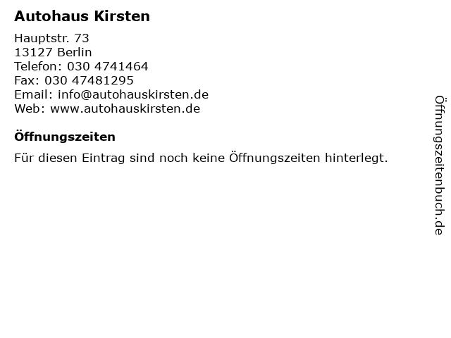 Autohaus Kirsten in Berlin: Adresse und Öffnungszeiten