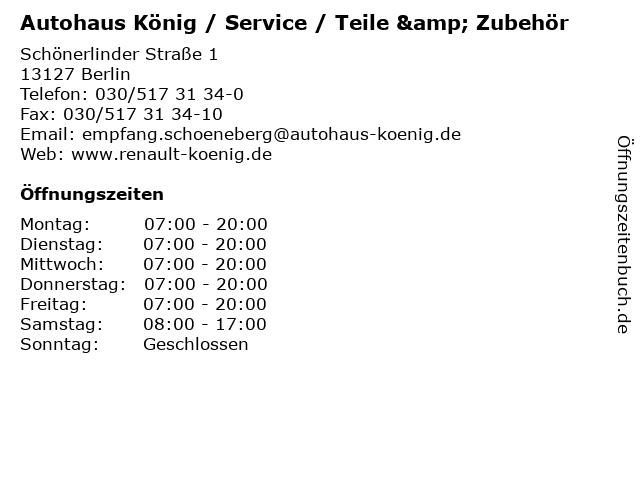 Autohaus König / Service / Teile & Zubehör in Berlin: Adresse und Öffnungszeiten