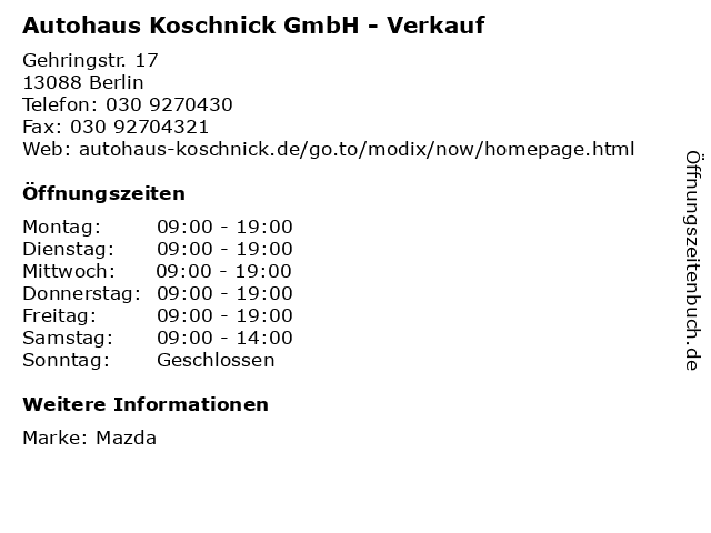 Autohaus Koschnick GmbH - Verkauf in Berlin: Adresse und Öffnungszeiten