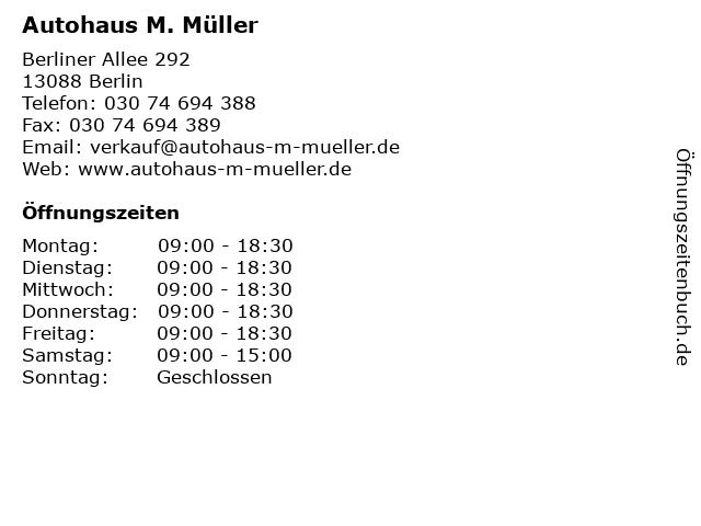 Autohaus M. Müller in Berlin: Adresse und Öffnungszeiten