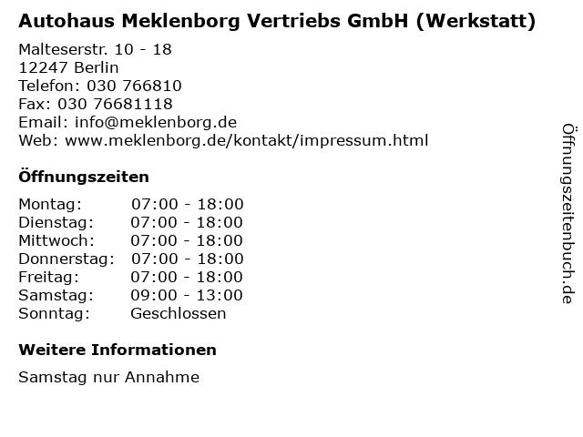 Autohaus Meklenborg Vertriebs GmbH (Werkstatt) in Berlin: Adresse und Öffnungszeiten