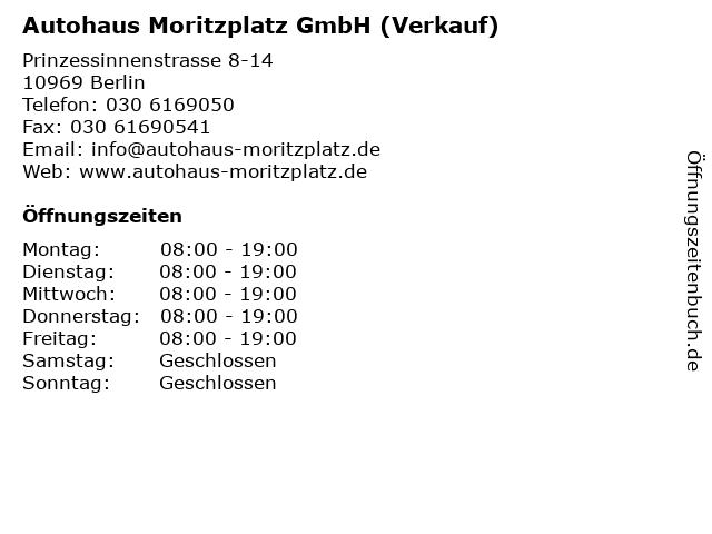 Autohaus Moritzplatz GmbH (Verkauf) in Berlin: Adresse und Öffnungszeiten