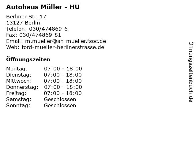 Autohaus Müller - HU in Berlin: Adresse und Öffnungszeiten