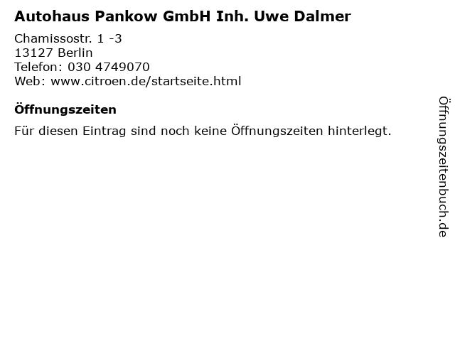 Autohaus Pankow GmbH Inh. Uwe Dalmer in Berlin: Adresse und Öffnungszeiten