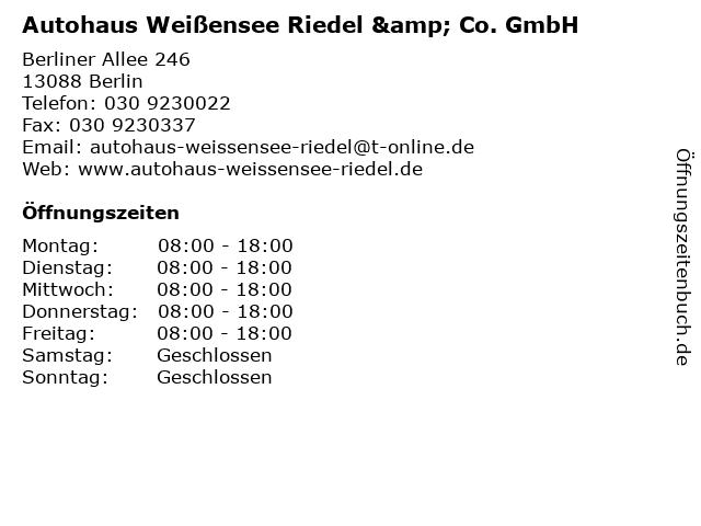 Autohaus Weißensee Riedel & Co. GmbH in Berlin: Adresse und Öffnungszeiten