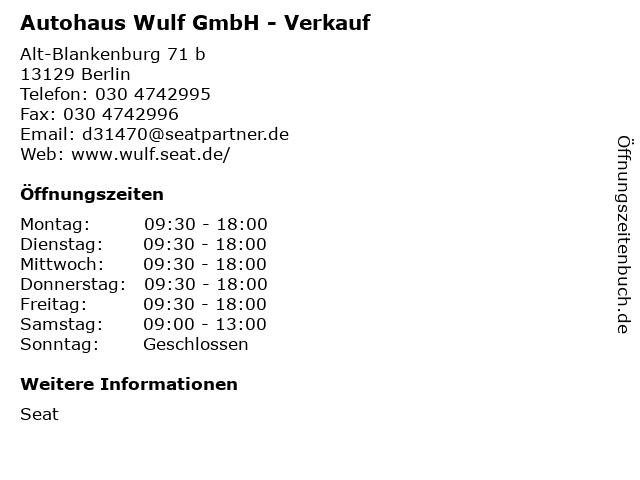 Autohaus Wulf GmbH - Verkauf in Berlin: Adresse und Öffnungszeiten