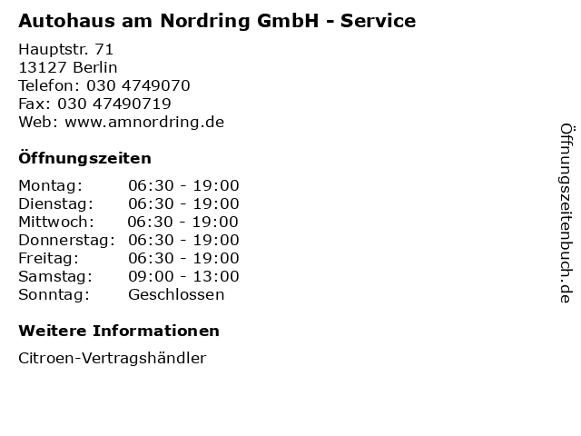 Autohaus am Nordring GmbH - Service in Berlin: Adresse und Öffnungszeiten