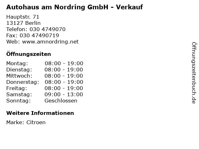 Autohaus am Nordring GmbH - Verkauf in Berlin: Adresse und Öffnungszeiten