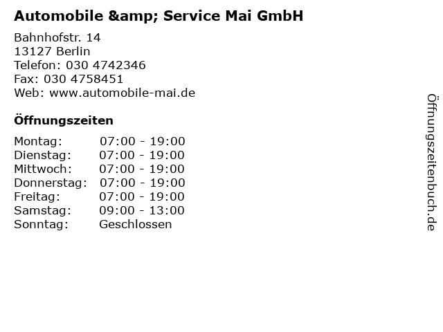 Automobile & Service Mai GmbH in Berlin: Adresse und Öffnungszeiten