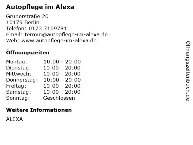 Autopflege im Alexa in Berlin: Adresse und Öffnungszeiten