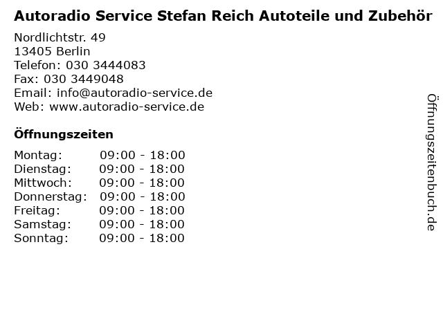 Autoradio Service Stefan Reich Autoteile und Zubehör in Berlin: Adresse und Öffnungszeiten