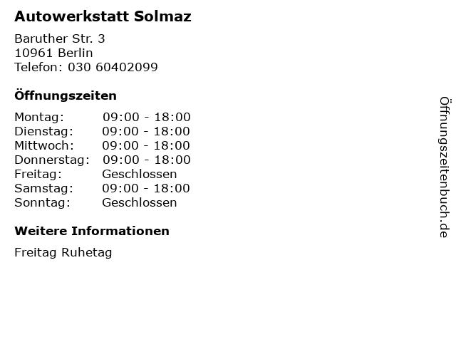 Autowerkstatt Solmaz in Berlin: Adresse und Öffnungszeiten