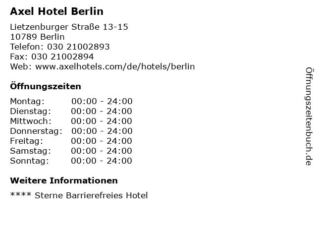 Axel Hotel Berlin in Berlin: Adresse und Öffnungszeiten